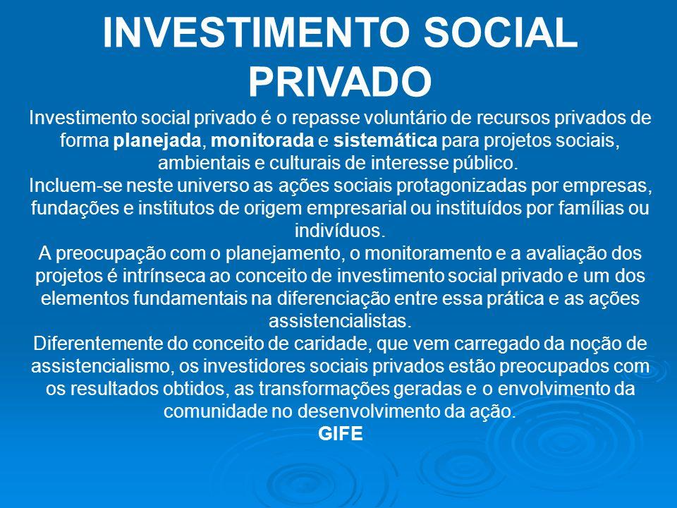 INVESTIMENTO SOCIAL PRIVADO Investimento social privado é o repasse voluntário de recursos privados de forma planejada, monitorada e sistemática para
