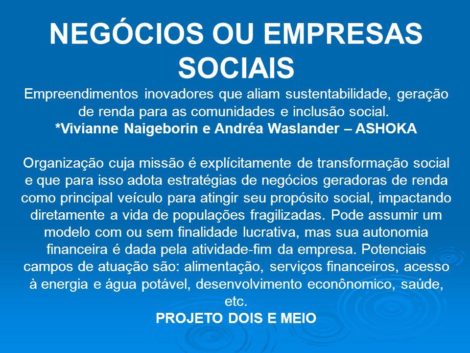 NEGÓCIOS OU EMPRESAS SOCIAIS Empreendimentos inovadores que aliam sustentabilidade, geração de renda para as comunidades e inclusão social. *Vivianne