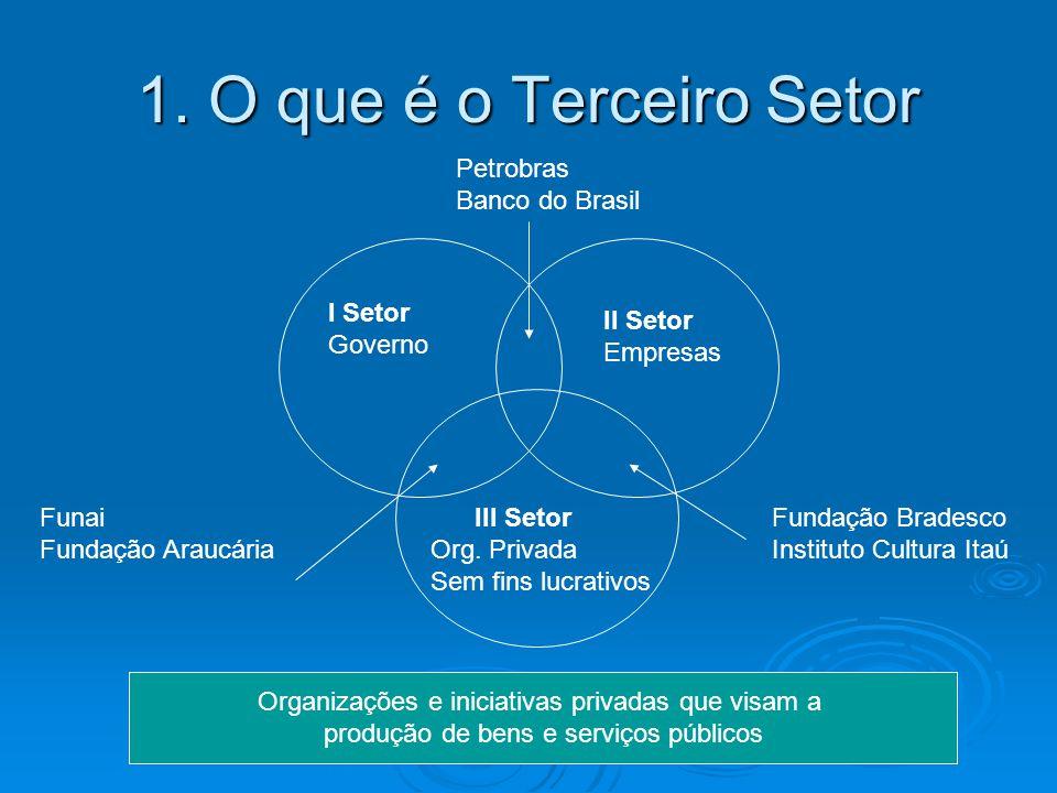 1. O que é o Terceiro Setor I Setor Governo II Setor Empresas III Setor Org. Privada Sem fins lucrativos Petrobras Banco do Brasil Fundação Bradesco I