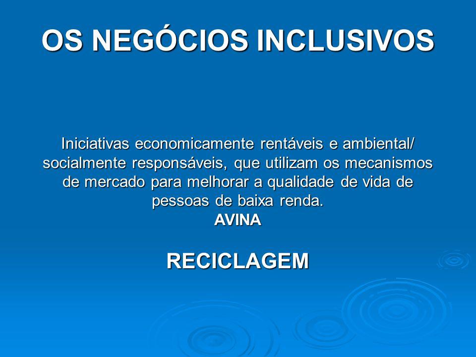OS NEGÓCIOS INCLUSIVOS Iniciativas economicamente rentáveis e ambiental/ socialmente responsáveis, que utilizam os mecanismos de mercado para melhorar