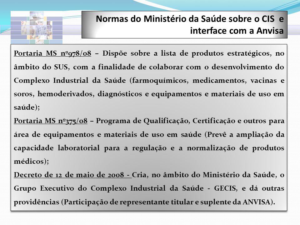 Portaria MS nº978/08 – Dispõe sobre a lista de produtos estratégicos, no âmbito do SUS, com a finalidade de colaborar com o desenvolvimento do Complex