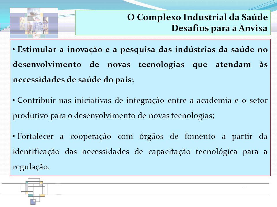 Estimular a inovação e a pesquisa das indústrias da saúde no desenvolvimento de novas tecnologias que atendam às necessidades de saúde do país; Contri