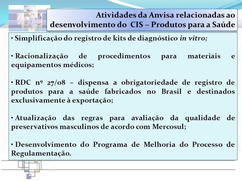 Simplificação do registro de kits de diagnóstico in vitro; Racionalização de procedimentos para materiais e equipamentos médicos; RDC nº 27/08 – dispe