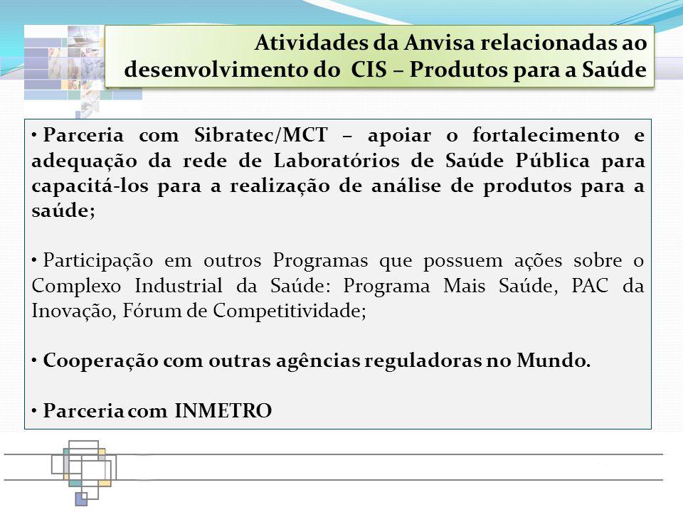 Parceria com Sibratec/MCT – apoiar o fortalecimento e adequação da rede de Laboratórios de Saúde Pública para capacitá-los para a realização de anális