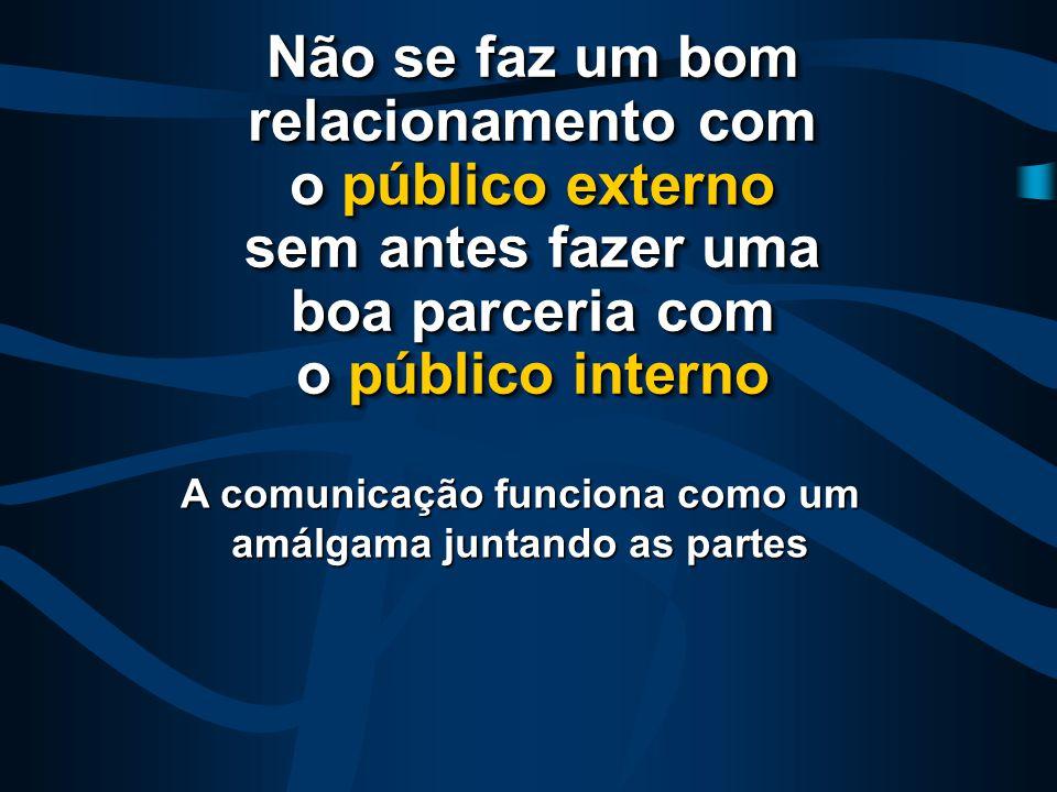 Não se faz um bom relacionamento com o público externo sem antes fazer uma boa parceria com o público interno A comunicação funciona como um amálgama juntando as partes