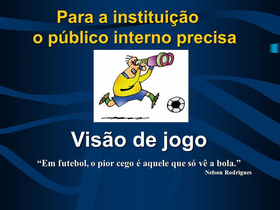Visão de jogo Para a instituição o público interno precisa Em futebol, o pior cego é aquele que só vê a bola. Nelson Rodrigues