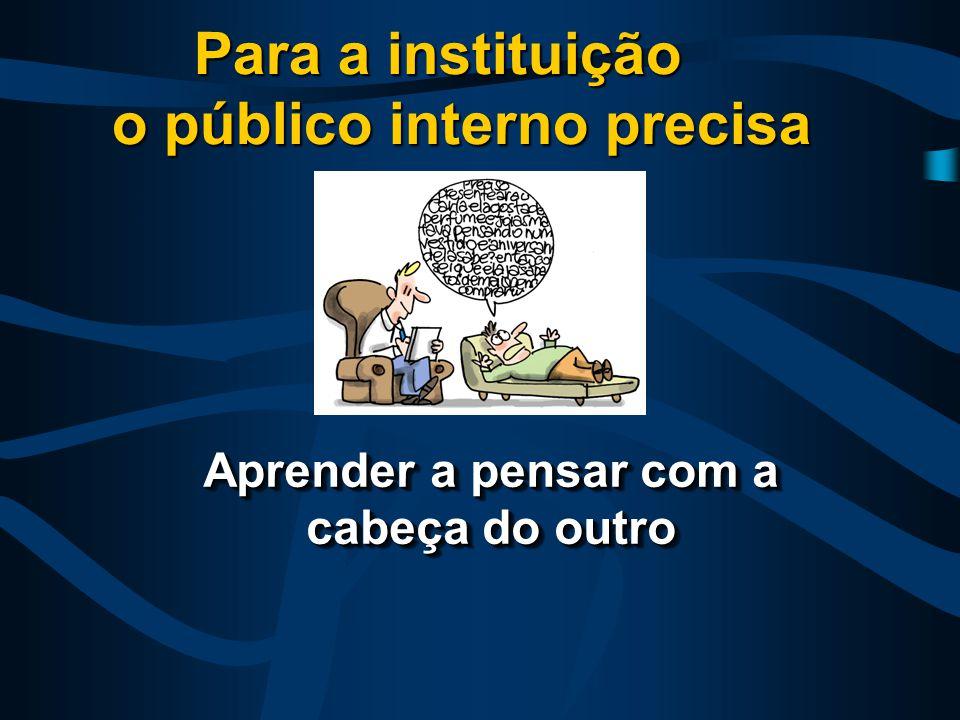 Aprender a pensar com a cabeça do outro Para a instituição o público interno precisa