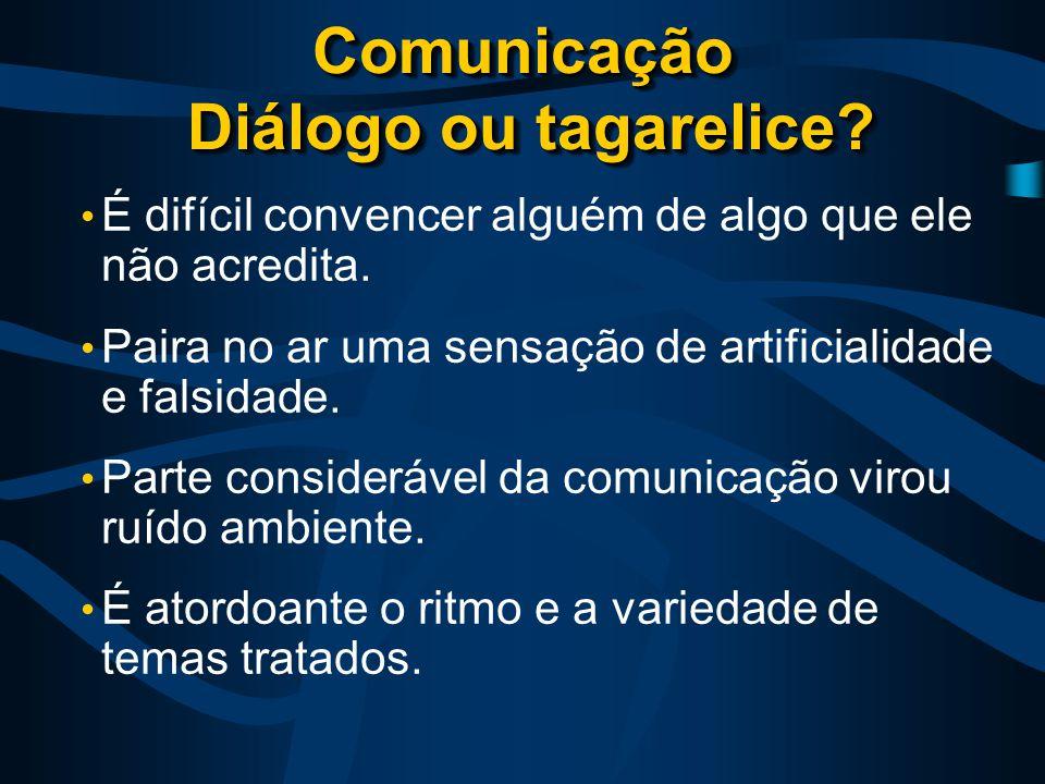 Comunicação Diálogo ou tagarelice. É difícil convencer alguém de algo que ele não acredita.