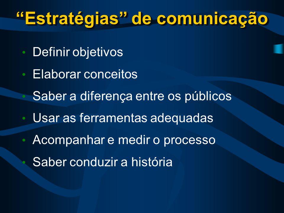 Estratégias de comunicação Definir objetivos Elaborar conceitos Saber a diferença entre os públicos Usar as ferramentas adequadas Acompanhar e medir o processo Saber conduzir a história