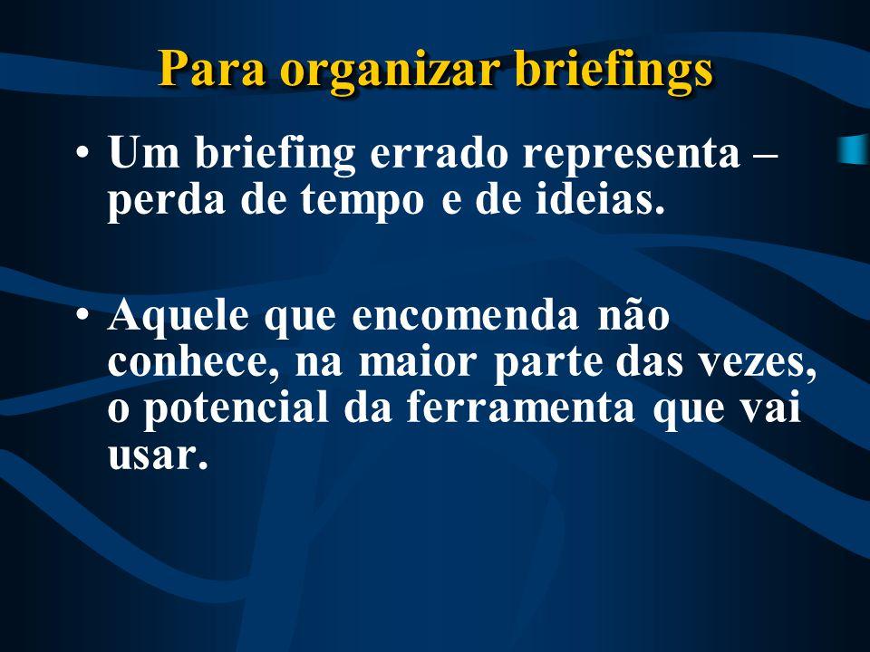 Um briefing errado representa – perda de tempo e de ideias.