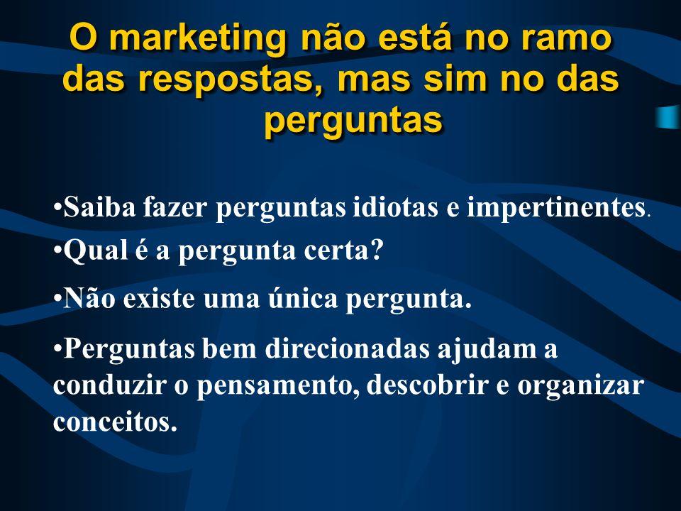 O marketing não está no ramo das respostas, mas sim no das perguntas O marketing não está no ramo das respostas, mas sim no das perguntas Perguntas bem direcionadas ajudam a conduzir o pensamento, descobrir e organizar conceitos.