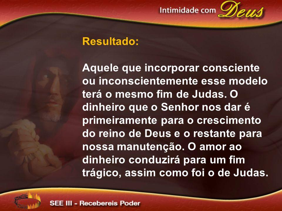 Resultado: Aquele que incorporar consciente ou inconscientemente esse modelo terá o mesmo fim de Judas.