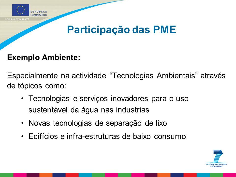 Participação das PME Exemplo Ambiente: Especialmente na actividade Tecnologias Ambientais através de tópicos como: Tecnologias e serviços inovadores para o uso sustentável da água nas industrias Novas tecnologias de separação de lixo Edifícios e infra-estruturas de baixo consumo