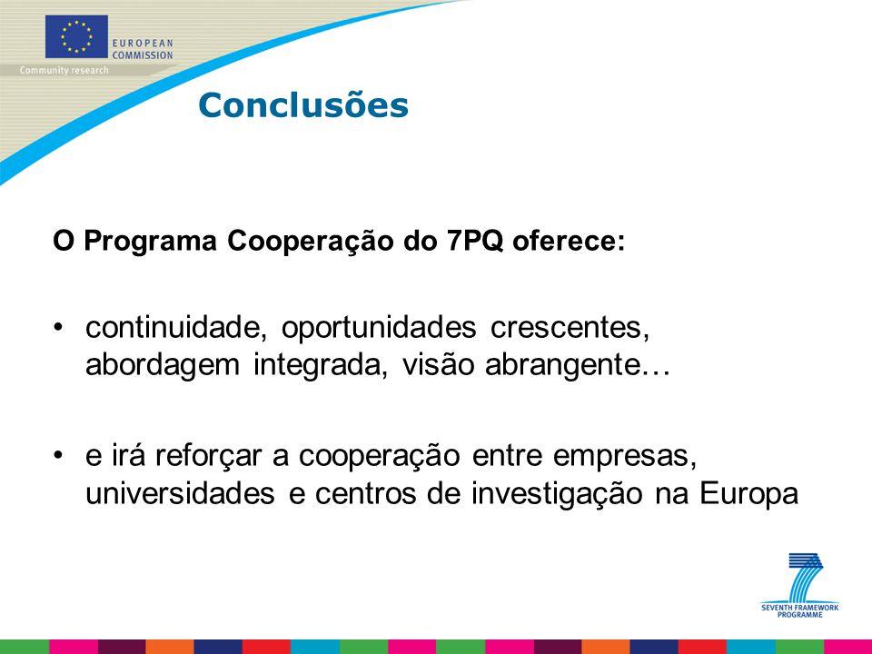 Conclusões O Programa Cooperação do 7PQ oferece: continuidade, oportunidades crescentes, abordagem integrada, visão abrangente… e irá reforçar a cooperação entre empresas, universidades e centros de investigação na Europa