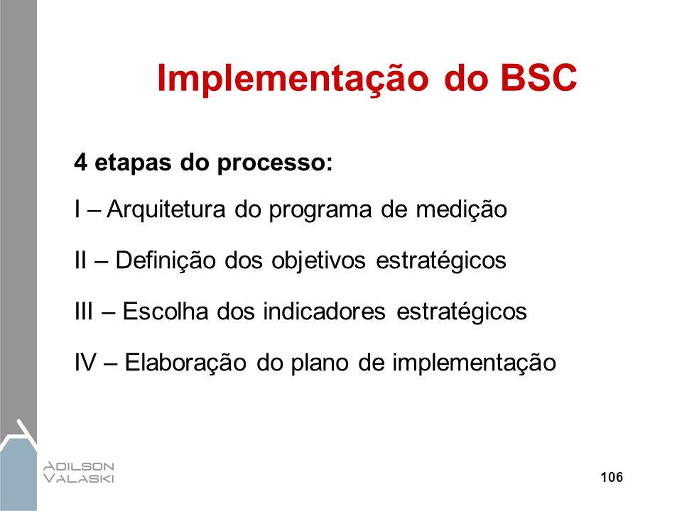 106 Implementação do BSC 4 etapas do processo: I – Arquitetura do programa de medição II – Definição dos objetivos estratégicos III – Escolha dos indi