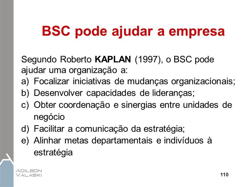 110 BSC pode ajudar a empresa Segundo Roberto KAPLAN (1997), o BSC pode ajudar uma organização a: a)Focalizar iniciativas de mudanças organizacionais;