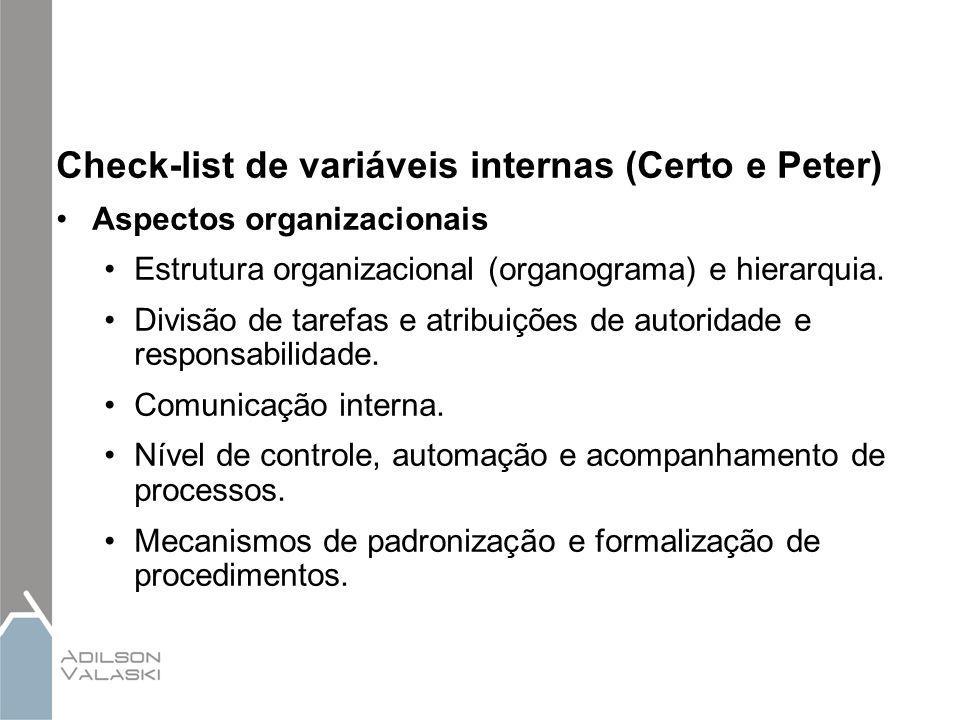 Check-list de variáveis internas (Certo e Peter) Aspectos organizacionais Estrutura organizacional (organograma) e hierarquia. Divisão de tarefas e at