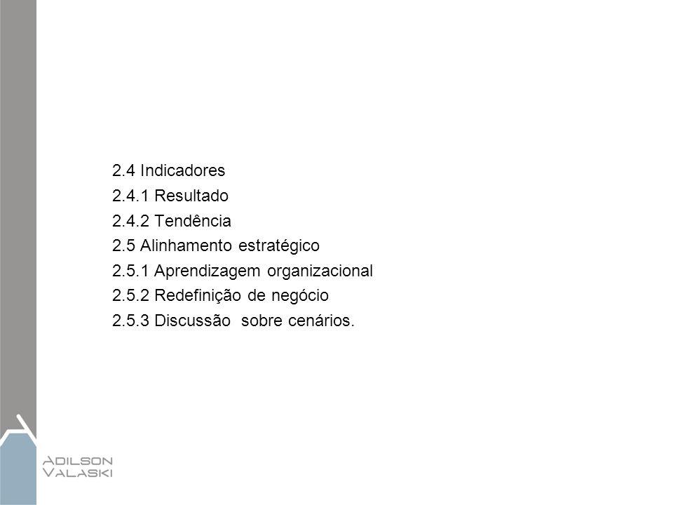 2.4 Indicadores 2.4.1 Resultado 2.4.2 Tendência 2.5 Alinhamento estratégico 2.5.1 Aprendizagem organizacional 2.5.2 Redefinição de negócio 2.5.3 Discu