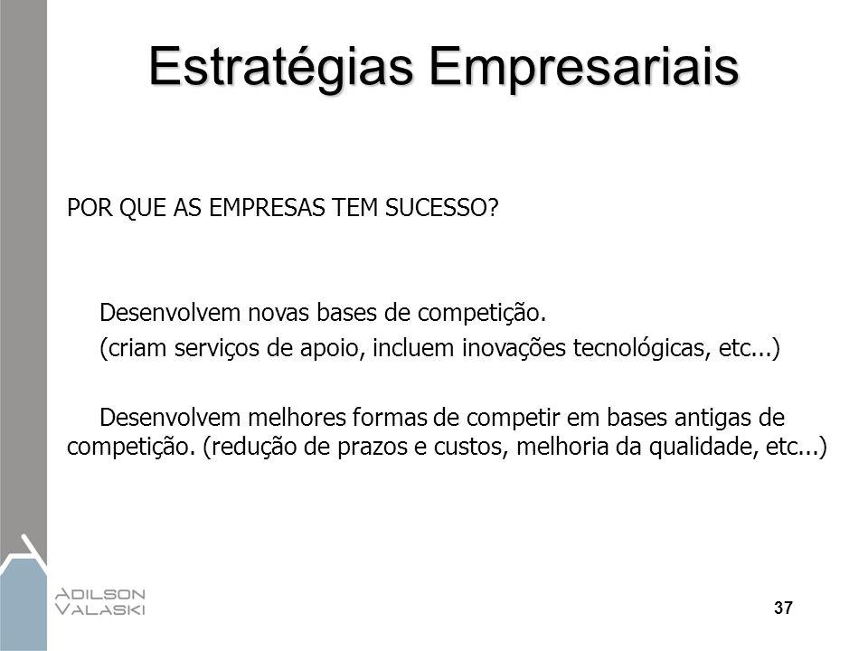 37 Estratégias Empresariais POR QUE AS EMPRESAS TEM SUCESSO? Desenvolvem novas bases de competição. (criam serviços de apoio, incluem inovações tecnol