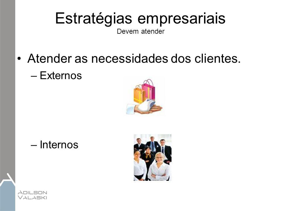 Estratégias empresariais Devem atender Atender as necessidades dos clientes. –Externos –Internos