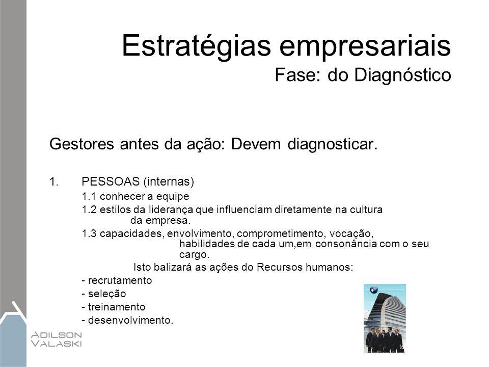 Estratégias empresariais Fase: do Diagnóstico Gestores antes da ação: Devem diagnosticar. 1.PESSOAS (internas) 1.1 conhecer a equipe 1.2 estilos da li
