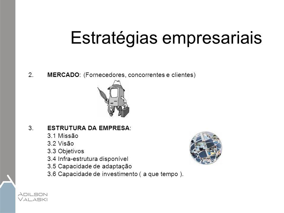 Estratégias empresariais 2.MERCADO: (Fornecedores, concorrentes e clientes) 3.ESTRUTURA DA EMPRESA: 3.1 Missão 3.2 Visão 3.3 Objetivos 3.4 Infra-estru