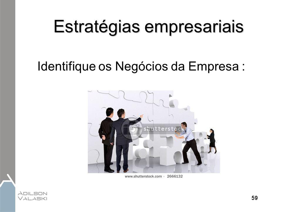 59 Estratégias empresariais Identifique os Negócios da Empresa :