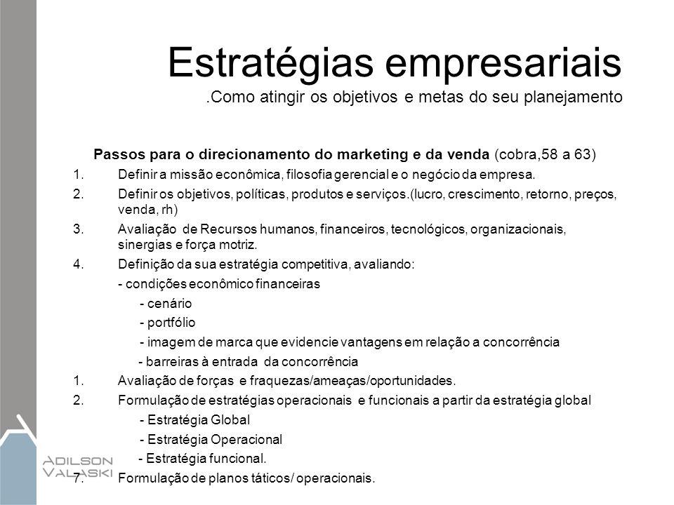 Estratégias empresariais.Como atingir os objetivos e metas do seu planejamento Passos para o direcionamento do marketing e da venda (cobra,58 a 63) 1.