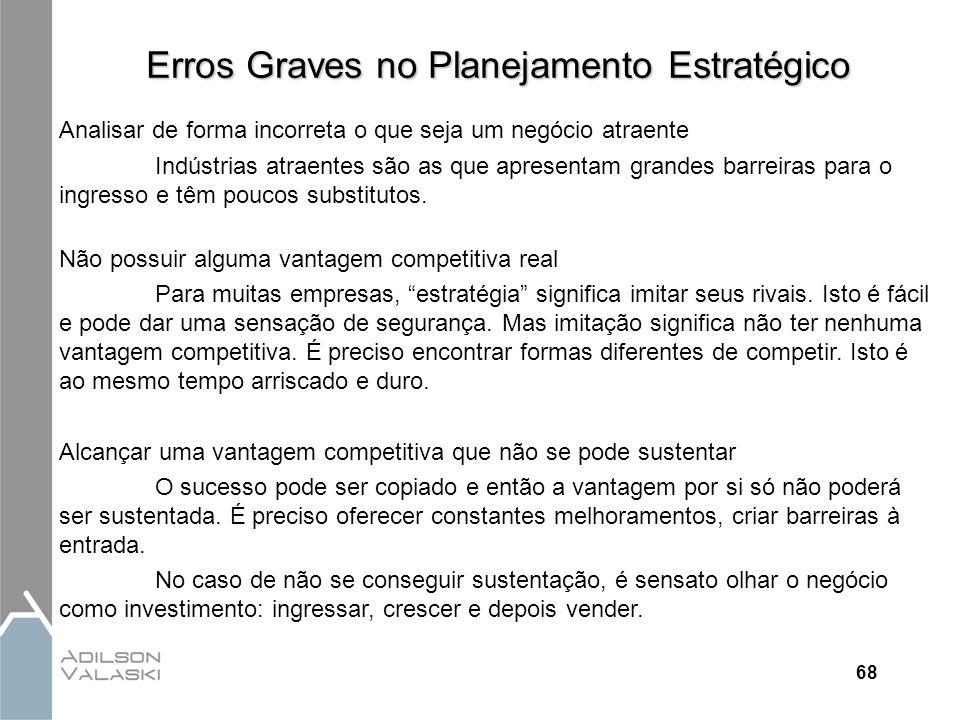 68 Erros Graves no Planejamento Estratégico Analisar de forma incorreta o que seja um negócio atraente Indústrias atraentes são as que apresentam gran
