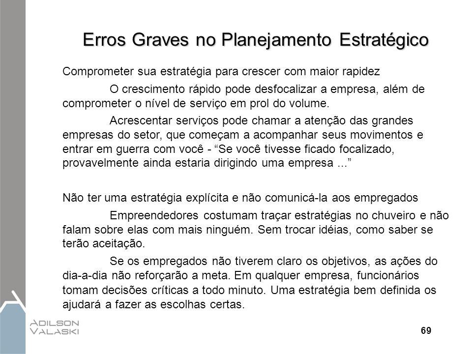 69 Erros Graves no Planejamento Estratégico Comprometer sua estratégia para crescer com maior rapidez O crescimento rápido pode desfocalizar a empresa