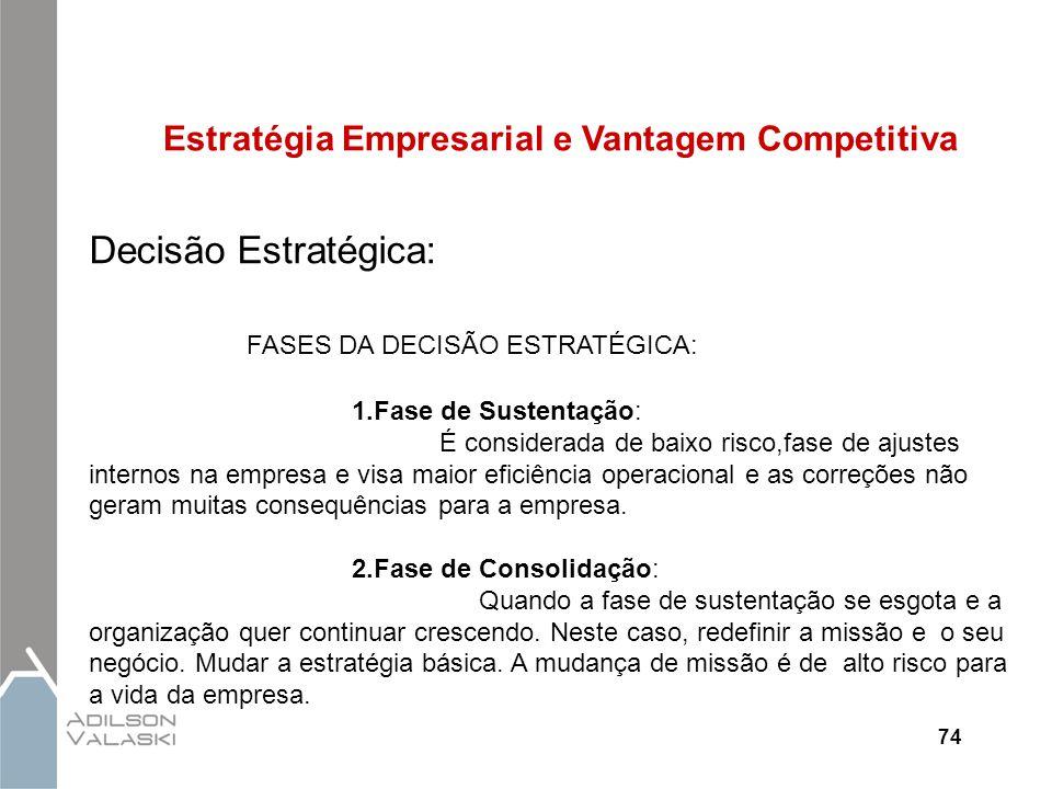 74 Estratégia Empresarial e Vantagem Competitiva Decisão Estratégica: FASES DA DECISÃO ESTRATÉGICA: 1.Fase de Sustentação: É considerada de baixo risc