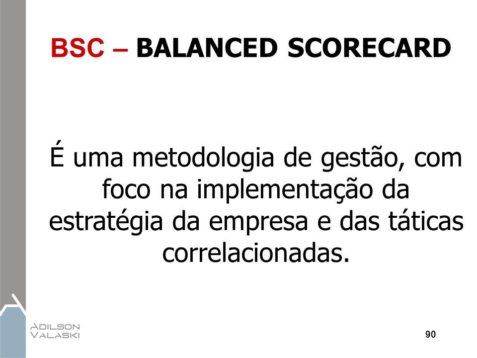90 BSC – BALANCED SCORECARD É uma metodologia de gestão, com foco na implementação da estratégia da empresa e das táticas correlacionadas.