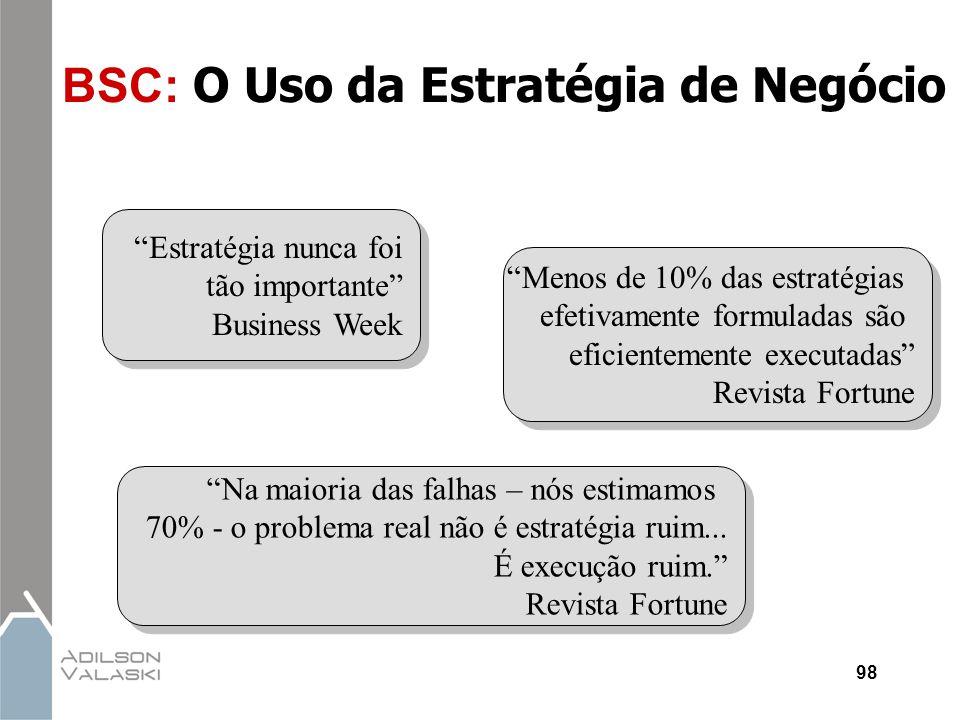 """98 BSC: O Uso da Estratégia de Negócio """"Estratégia nunca foi tão importante"""" Business Week """"Menos de 10% das estratégias efetivamente formuladas são e"""