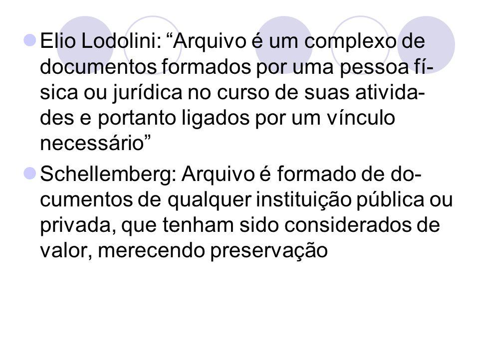 """Elio Lodolini: """"Arquivo é um complexo de documentos formados por uma pessoa fí- sica ou jurídica no curso de suas ativida- des e portanto ligados por"""