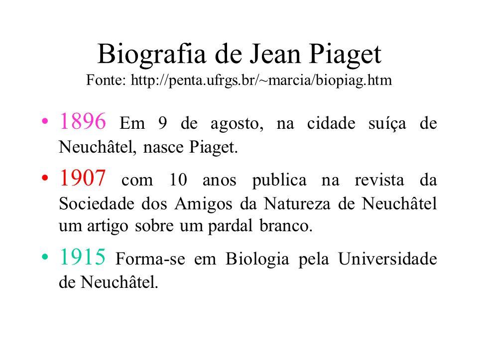 Biografia de Jean Piaget Fonte: http://penta.ufrgs.br/~marcia/biopiag.htm 1896 Em 9 de agosto, na cidade suíça de Neuchâtel, nasce Piaget.