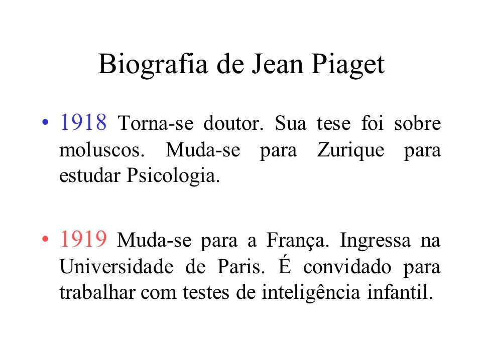 Biografia de Jean Piaget Fonte: http://penta.ufrgs.br/~marcia/biopiag.htm 1896 Em 9 de agosto, na cidade suíça de Neuchâtel, nasce Piaget. 1907 com 10