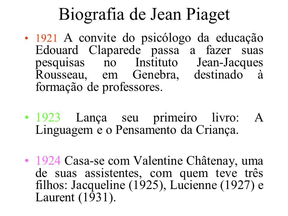 Biografia de Jean Piaget 1918 Torna-se doutor. Sua tese foi sobre moluscos. Muda-se para Zurique para estudar Psicologia. 1919 Muda-se para a França.