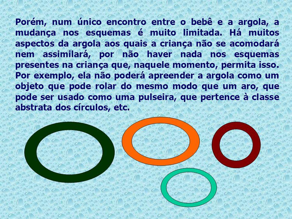 a) Os esquemas são ampliados para assimilar o novo objeto: a criança aprende que, além dos outros objetos, as argolas também podem ser olhadas, agarra