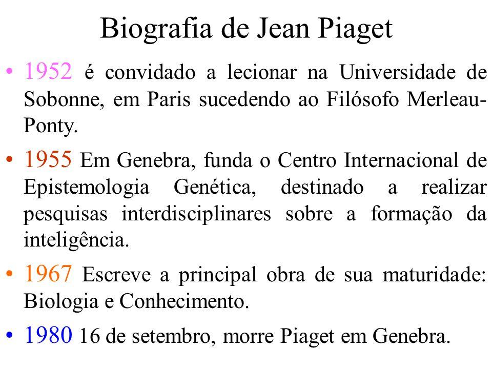 Biografia de Jean Piaget 1952 é convidado a lecionar na Universidade de Sobonne, em Paris sucedendo ao Filósofo Merleau- Ponty.