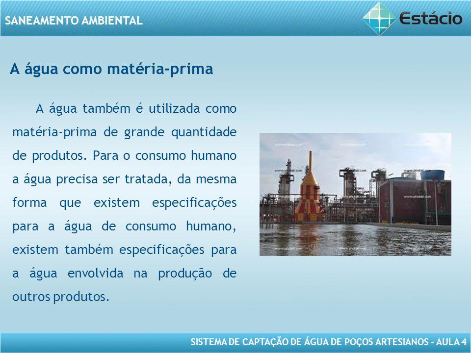 SISTEMA DE CAPTAÇÃO DE ÁGUA DE POÇOS ARTESIANOS – AULA 4 SANEAMENTO AMBIENTAL A água como matéria-prima A água também é utilizada como matéria-prima d