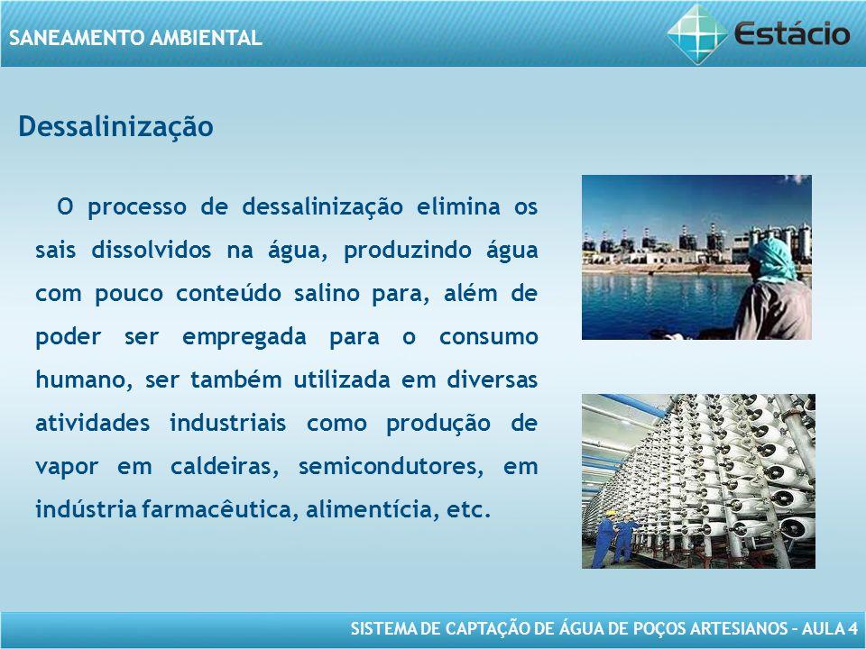 SISTEMA DE CAPTAÇÃO DE ÁGUA DE POÇOS ARTESIANOS – AULA 4 SANEAMENTO AMBIENTAL Dessalinização O processo de dessalinização elimina os sais dissolvidos
