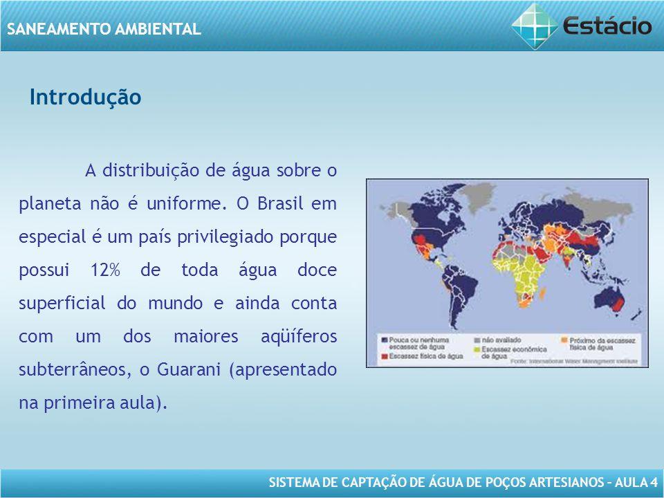 SISTEMA DE CAPTAÇÃO DE ÁGUA DE POÇOS ARTESIANOS – AULA 4 SANEAMENTO AMBIENTAL Introdução A distribuição de água sobre o planeta não é uniforme. O Bras