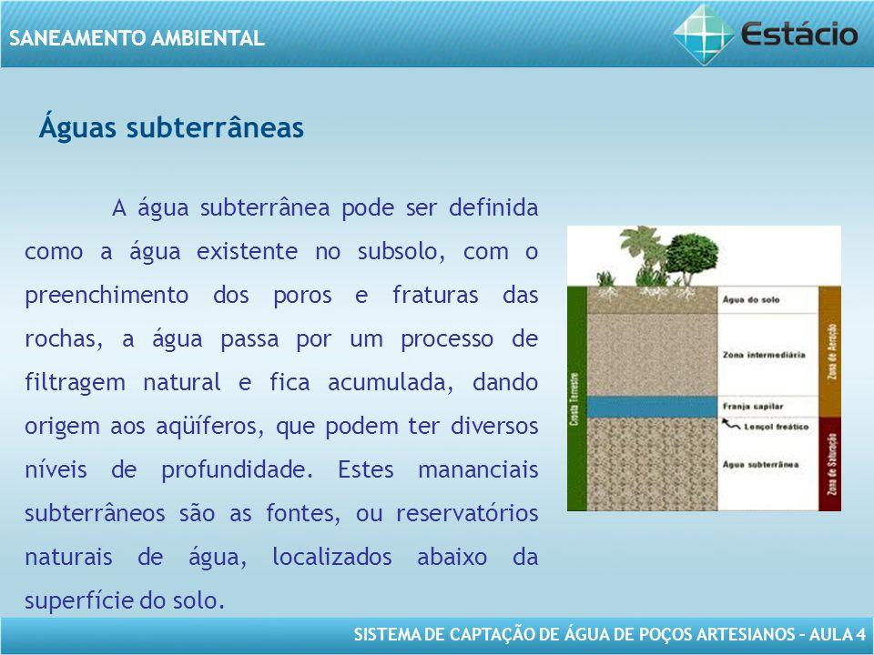 SISTEMA DE CAPTAÇÃO DE ÁGUA DE POÇOS ARTESIANOS – AULA 4 SANEAMENTO AMBIENTAL Águas subterrâneas Estes mananciais subterrâneos são as fontes, ou reservatórios naturais de água, localizados abaixo da superfície do solo.