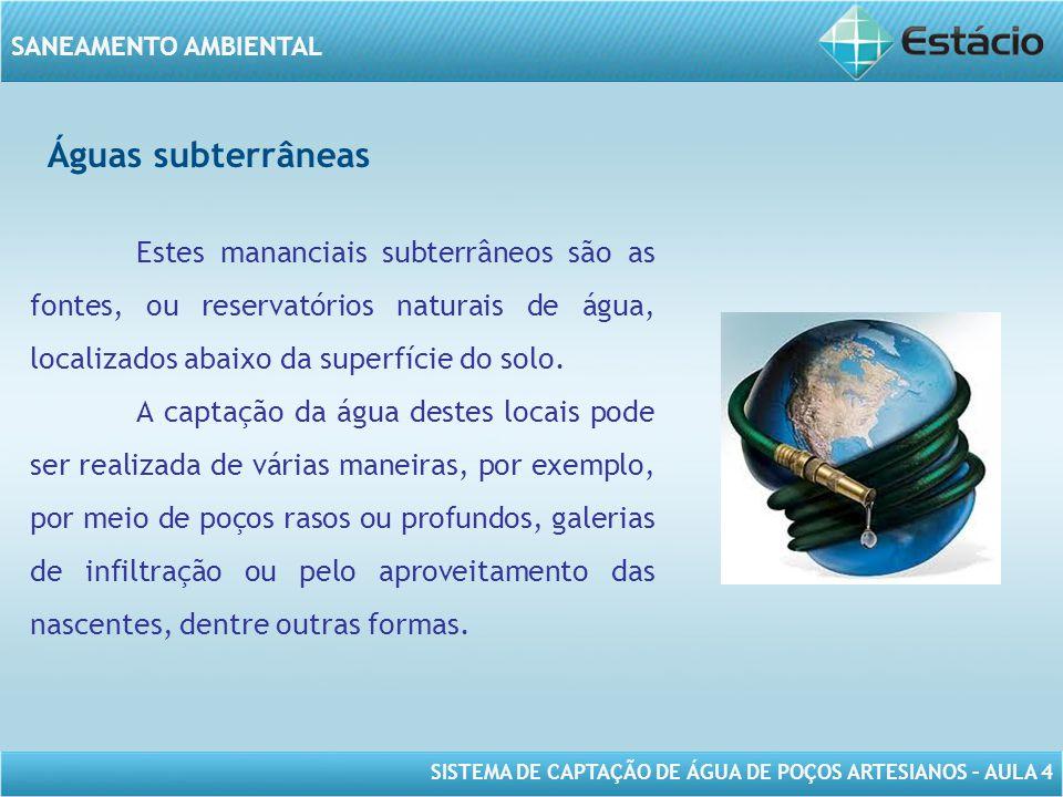 SISTEMA DE CAPTAÇÃO DE ÁGUA DE POÇOS ARTESIANOS – AULA 4 SANEAMENTO AMBIENTAL Águas subterrâneas Estes mananciais subterrâneos são as fontes, ou reser