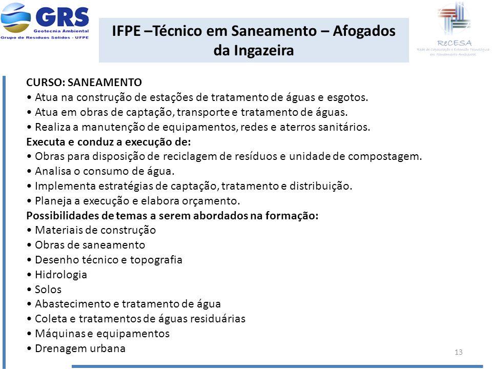 IFPE –Técnico em Saneamento – Afogados da Ingazeira CURSO: SANEAMENTO Atua na construção de estações de tratamento de águas e esgotos. Atua em obras d