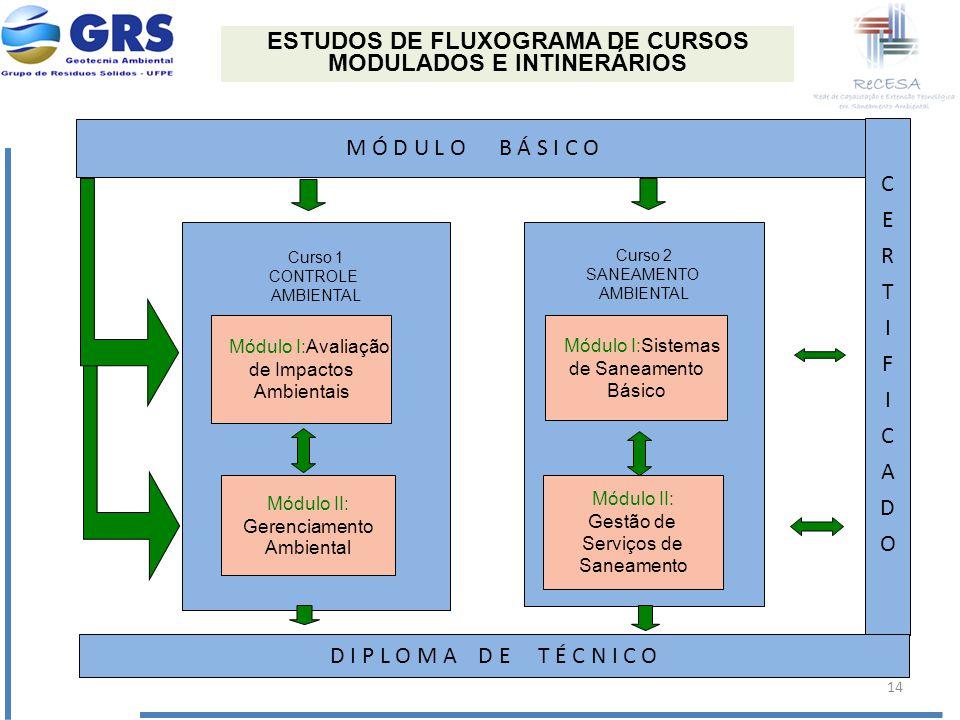 ESTUDOS DE FLUXOGRAMA DE CURSOS MODULADOS E INTINERÁRIOS M Ó D U L O B Á S I C O Curso 1 CONTROLE AMBIENTAL Módulo I:Avaliação de Impactos Ambientais