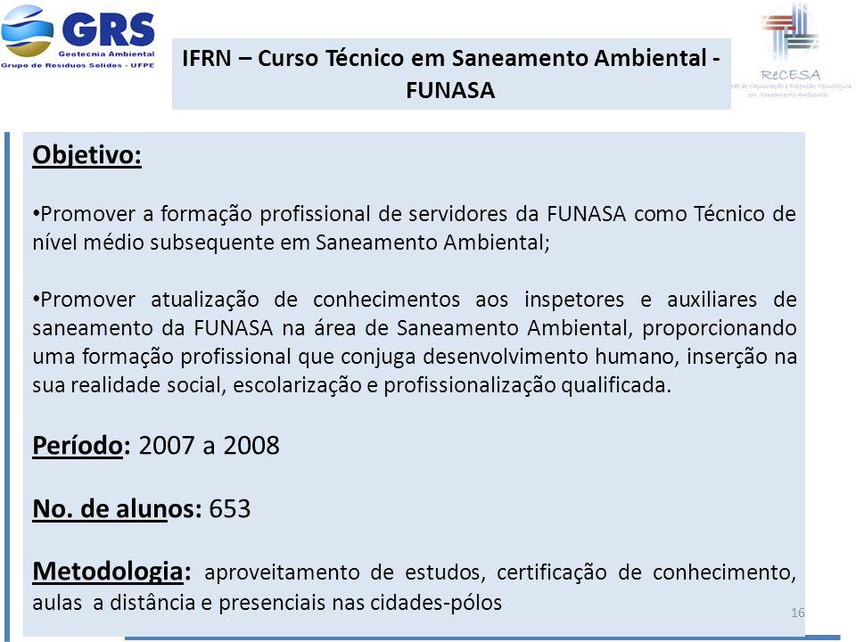 IFRN – Curso Técnico em Saneamento Ambiental - FUNASA Objetivo: Promover a formação profissional de servidores da FUNASA como Técnico de nível médio s