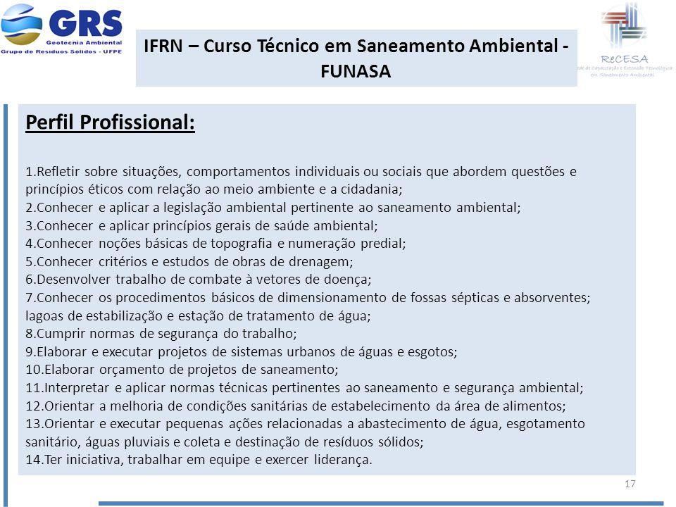 IFRN – Curso Técnico em Saneamento Ambiental - FUNASA Perfil Profissional: 1.Refletir sobre situações, comportamentos individuais ou sociais que abord