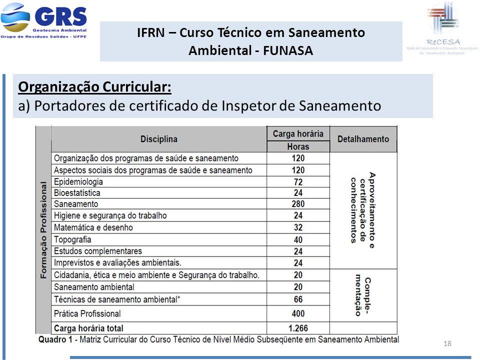 IFRN – Curso Técnico em Saneamento Ambiental - FUNASA Organização Curricular: a) Portadores de certificado de Inspetor de Saneamento 18