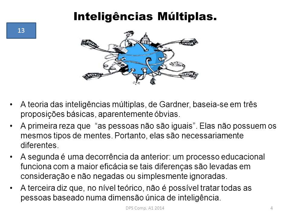 Inteligências Múltiplas. A teoria das inteligências múltiplas, de Gardner, baseia-se em três proposições básicas, aparentemente óbvias. A primeira rez